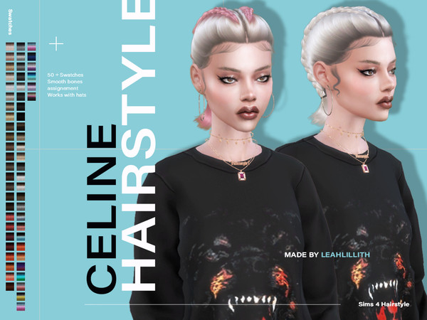 Sims 4 Celine Hairstyle by Leah Lillith at TSR