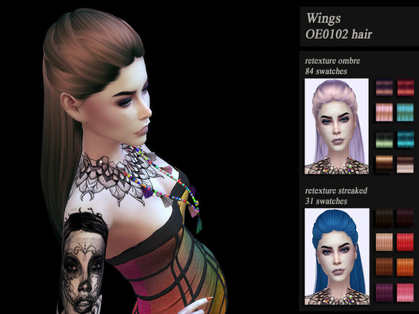 Sims 4 Hair recolor retexture WingsOE0102 by HoneysSims4 at TSR