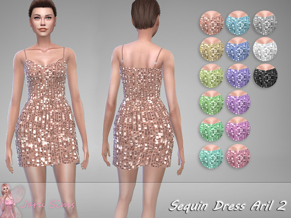 Sims 4 Sequin Dress Aril 2 by Jaru Sims at TSR
