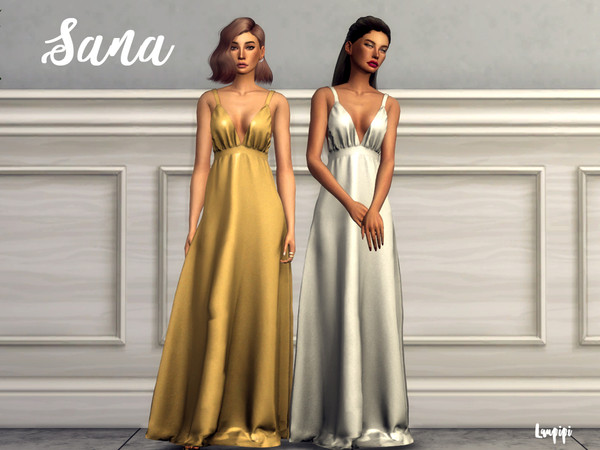 Sims 4 Sana long satin dress by laupipi at TSR