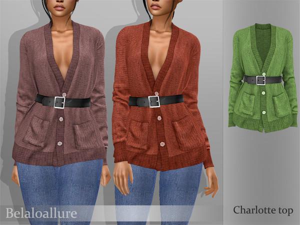 Sims 4 Belaloallure Charlotte top by belal1997 at TSR