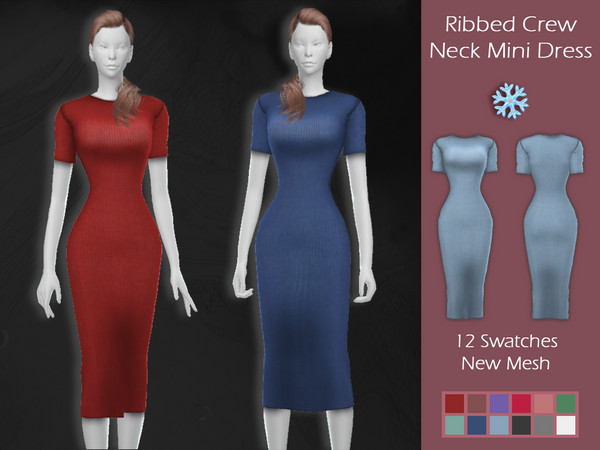 Sims 4 LMCS Ribbed Crew Neck Mini Dress by Lisaminicatsims at TSR