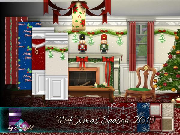 Sims 4 TS4 Xmas Season 2019 walls by emerald at TSR