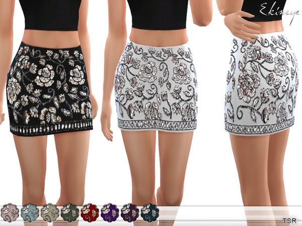 Sims 4 Embellished Mini Skirt by ekinege at TSR