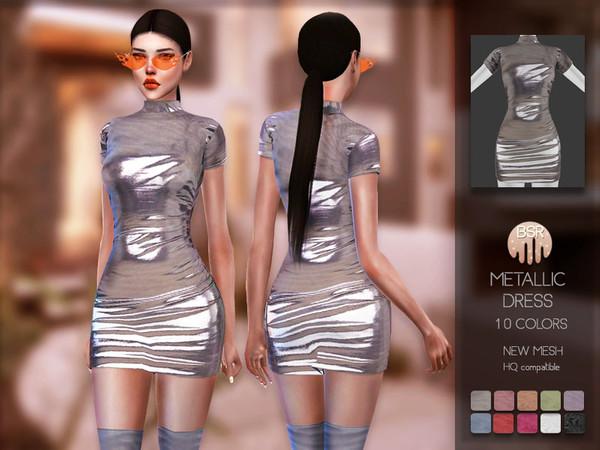 Sims 4 Metallic Dress BD157 by busra tr at TSR