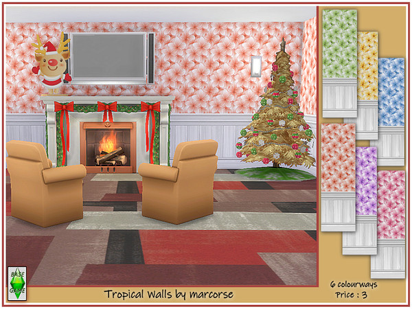 Sims 4 Tropical Walls by marcorse at TSR