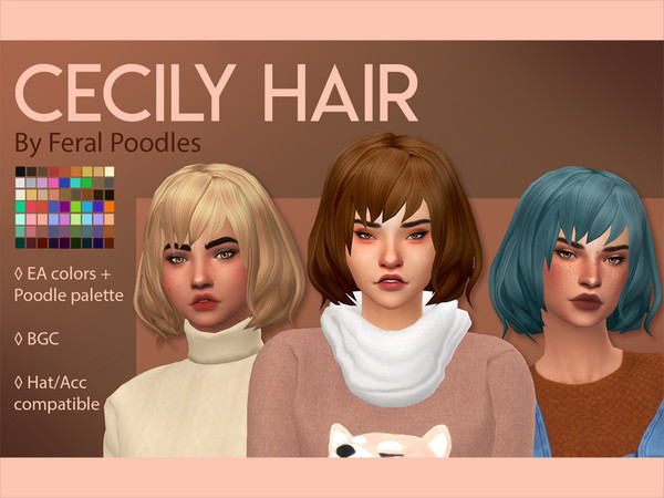 Cecily Short Fluffy Bob Hair By Feralpoodles At Tsr Sims 4 Updates
