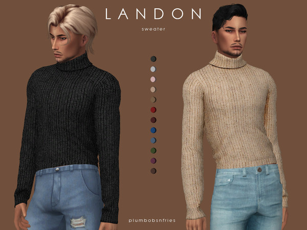 LANDON sweater by Plumbobs n Fries at TSR image 4218 Sims 4 Updates