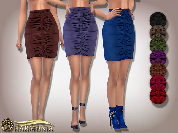 Sims 4 Ruched Front Mini Skirt by Harmonia at TSR