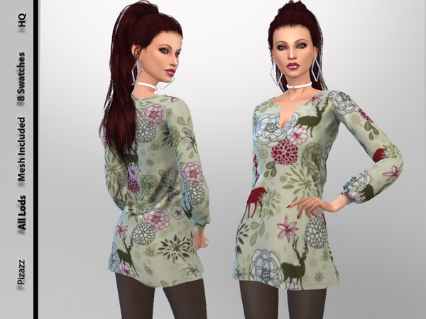 Sims 4 Winter Dress by pizazz at TSR