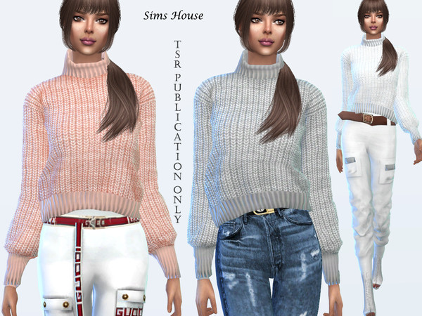 Sims 4 Sweater with collar by Sims House at TSR
