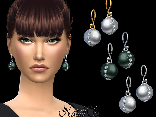 Sims 4 Crystal accent pearl drop earrings by NataliS at TSR