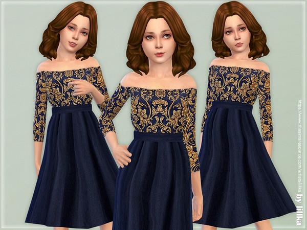 Sims 4 Navy & Gold Floral Dress by lillka at TSR