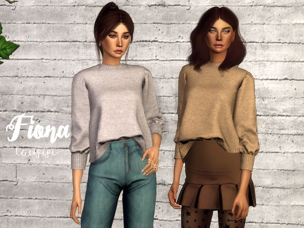 Sims 4 Fiona cozy sweater by laupipi at TSR