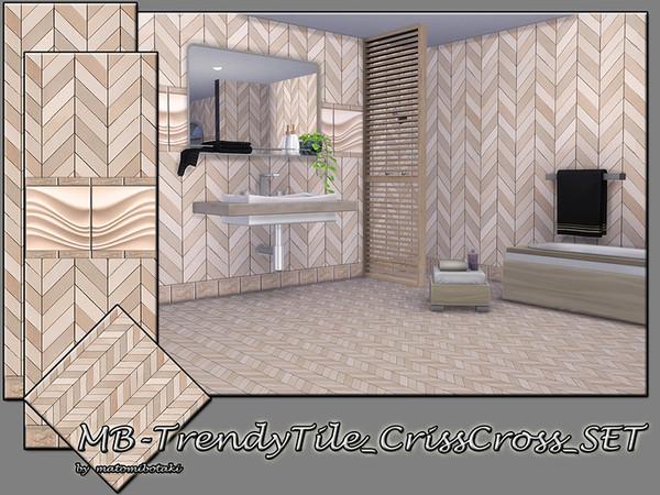 Sims 4 MB Trendy Tile Criss Cross SET by matomibotaki at TSR