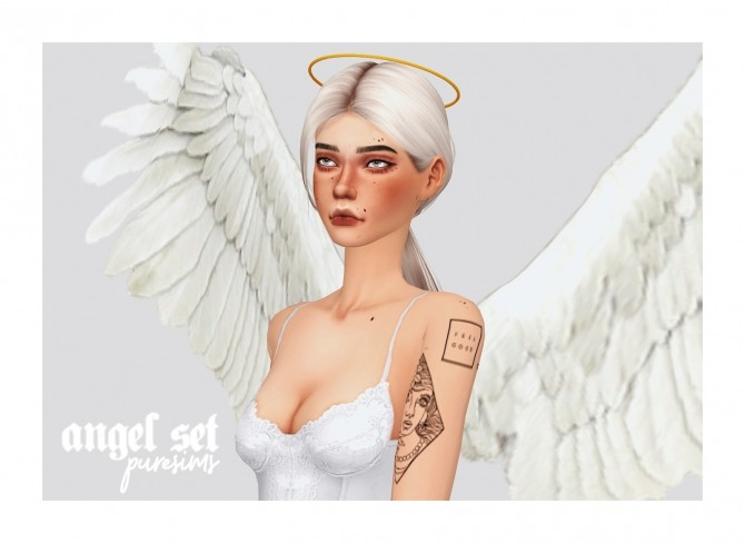 Sims 4 Angel wings + halo at Puresims