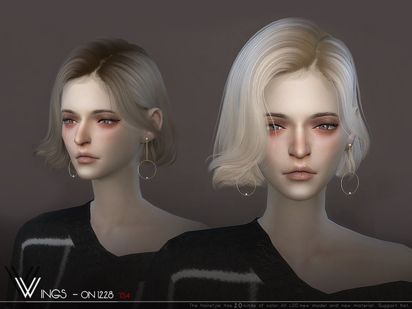 Sims 4 WINGS ON1228 hair by wingssims at TSR