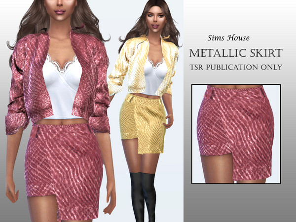 Sims 4 Metallic Skirt by Sims House at TSR