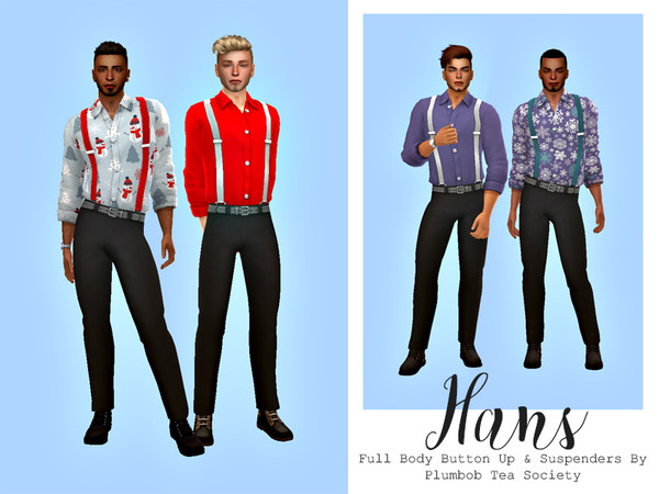 Sims 4 Hans Full Body Button Up And Suspenders by HazelsCloset at TSR