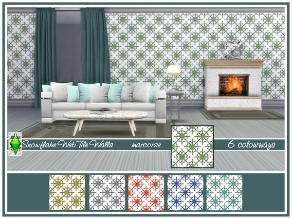 Sims 4 Snowflake Web Tile Walls by marcorse at TSR