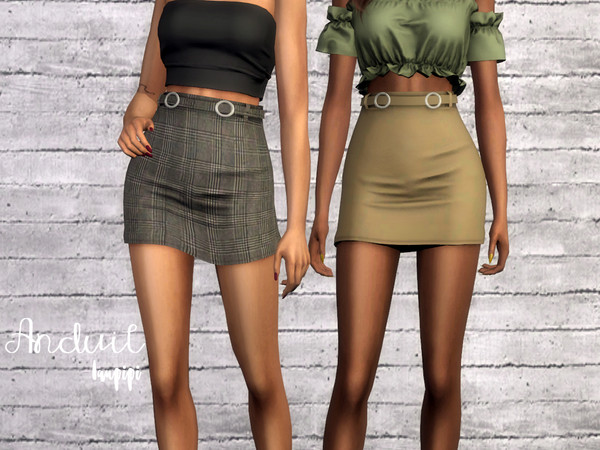 Sims 4 Anduil short skirt with a belt by laupipi at TSR