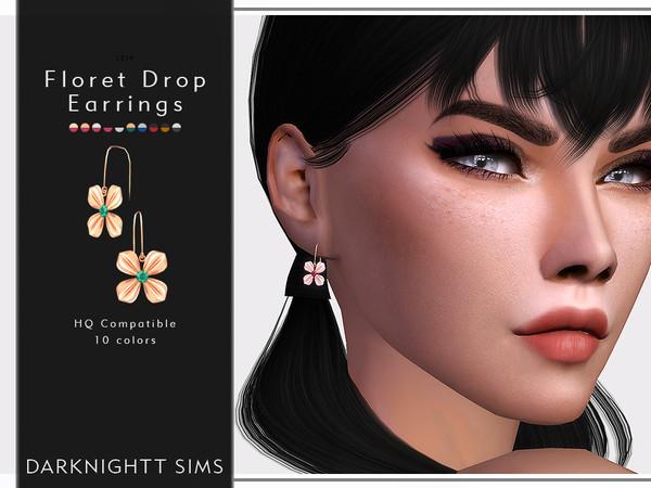 Sims 4 Floret Drop Earrings by DarkNighTt at TSR