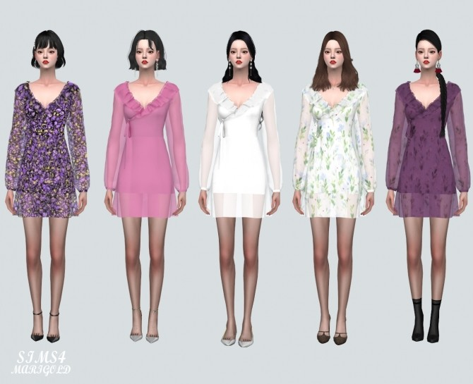 Sims 4 Chiffon Frill Wrap Mini Dress at Marigold