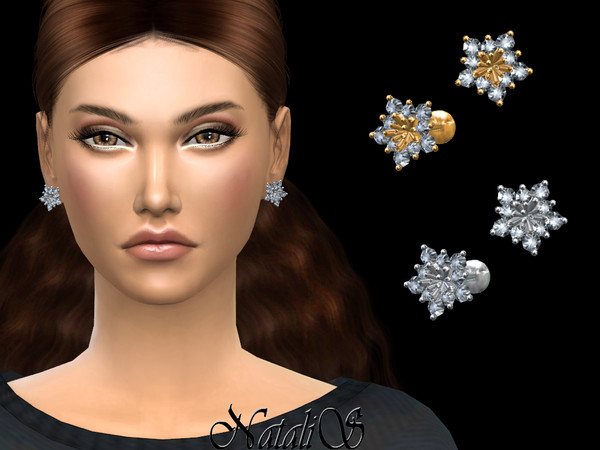 Sims 4 Winter flower earrings by NataliS at TSR