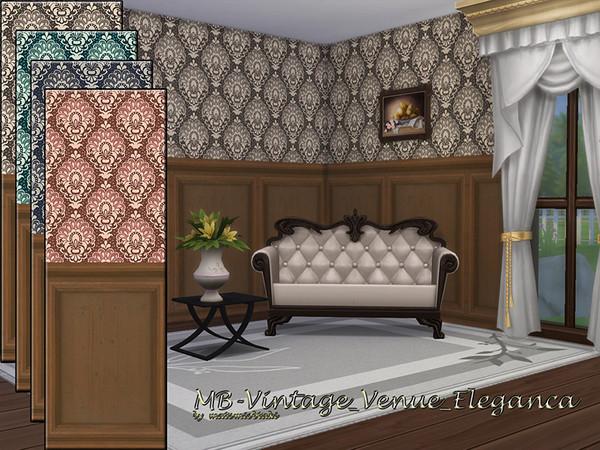 Sims 4 MB Vintage Venue Eleganca walls by matomibotaki at TSR