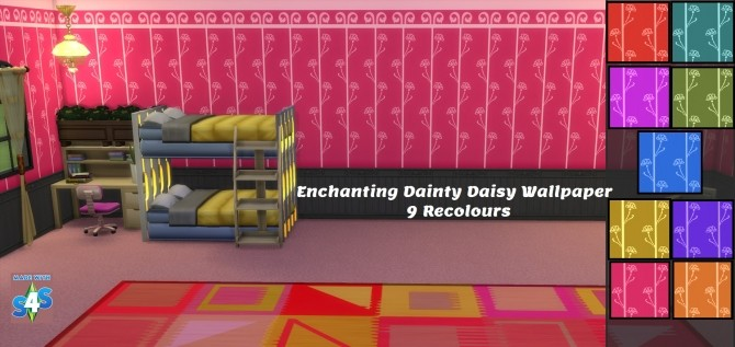 Sims 4 GP08 Enchanting Dainty Daisy 9 wallpaper recolours by wendy35pearly at Mod The Sims