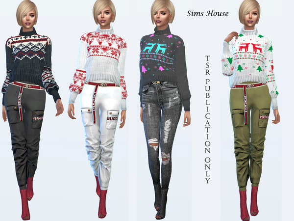 Sims 4 Woman sweater with christmas patterns by Sims House at TSR