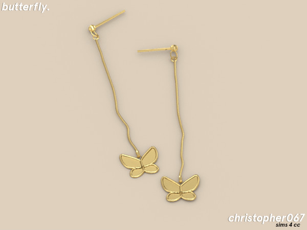 Butterfly Earrings by Christopher067 at TSR image 6713 Sims 4 Updates