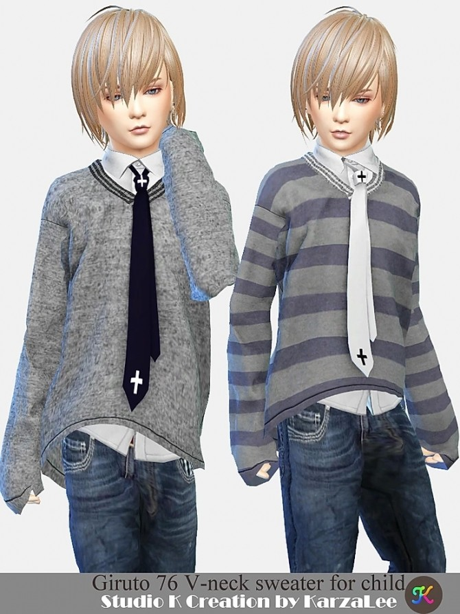 Giruto 76 V neck sweater for child at Studio K Creation image 6771 670x894 Sims 4 Updates