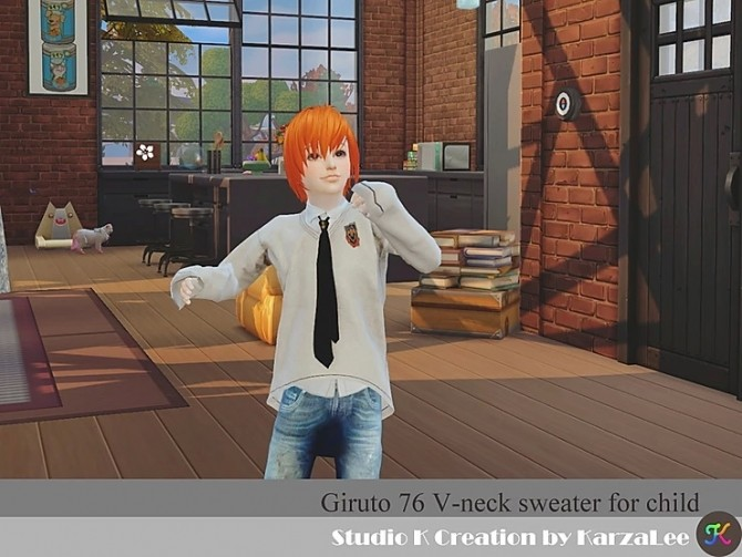 Giruto 76 V neck sweater for child at Studio K Creation image 6791 670x503 Sims 4 Updates