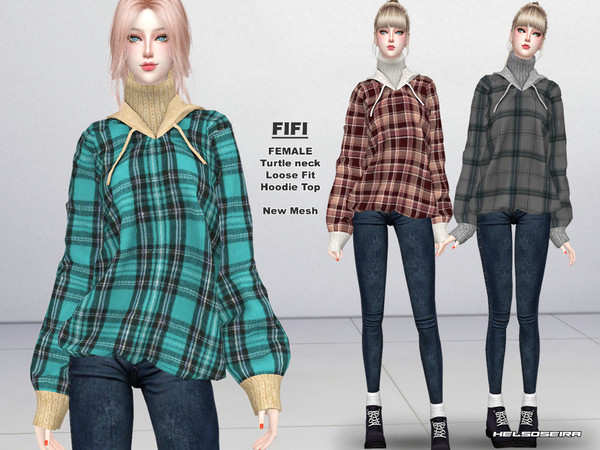 Sims 4 FIFI 2 Layers Hoodie by Helsoseira at TSR
