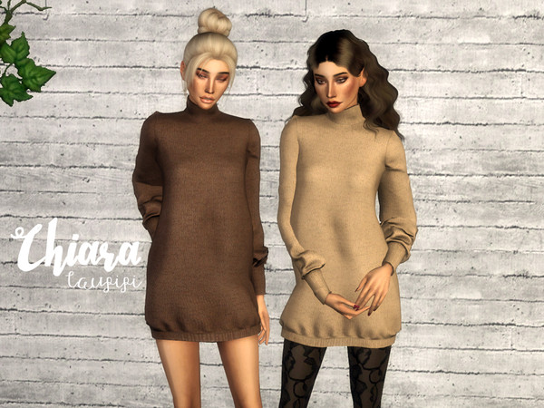 Sims 4 Chiara sweater dress by laupipi at TSR