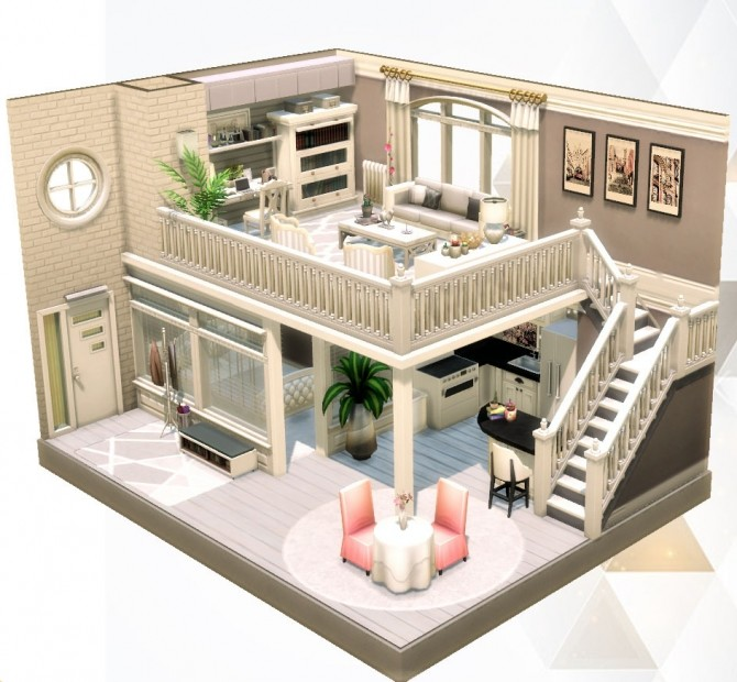 Little White/Grey Loft at Agathea k image 711 670x620 Sims 4 Updates