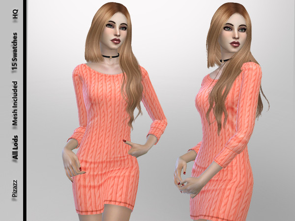 Sims 4 Sweater Dress by pizazz at TSR