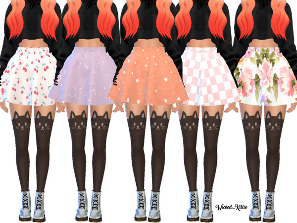 Cute Flared Skater Skirts by Wicked Kittie at TSR image 7315 Sims 4 Updates