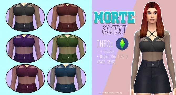 Sims 4 Morte outfit at Kass