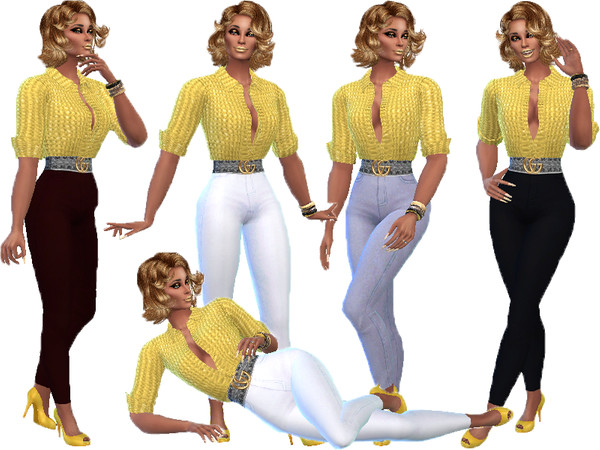 Sims 4 GG Gold slacks outfit by TrudieOpp at TSR