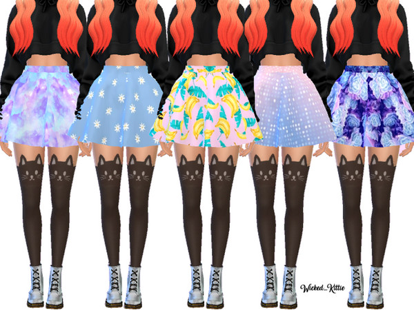 Sims 4 Cute Flared Skater Skirts by Wicked Kittie at TSR