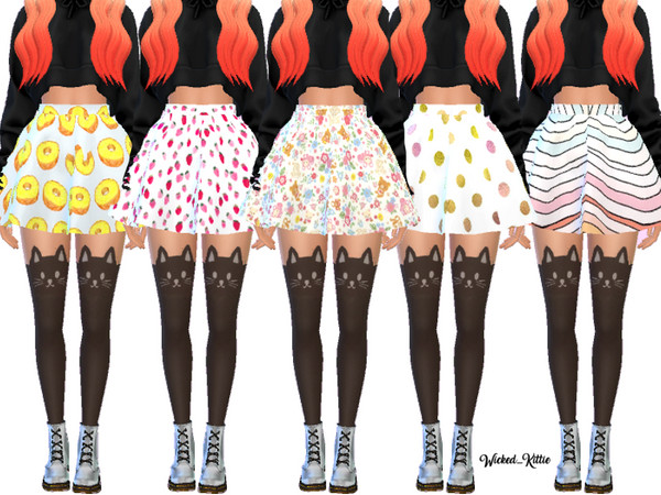 Cute Flared Skater Skirts by Wicked Kittie at TSR image 7615 Sims 4 Updates