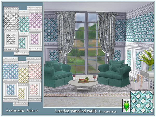 Sims 4 Lattice Panelled Walls by marcorse at TSR