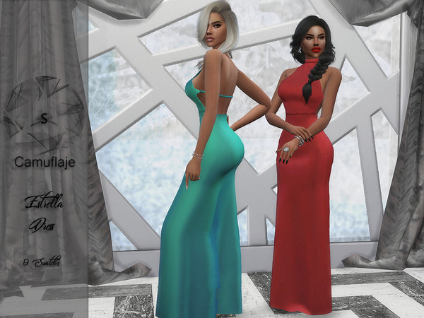Sims 4 Estrella long dress by Camuflaje at TSR