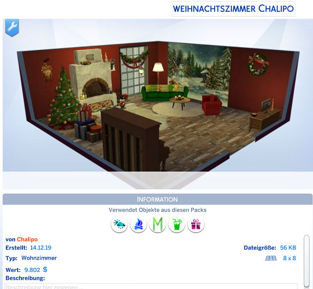 Sims 4 Christmas room by Chalipo at All 4 Sims