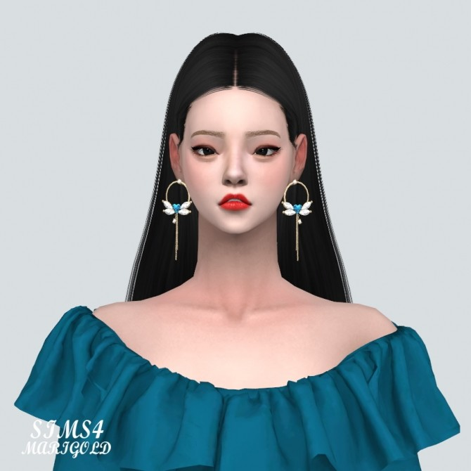 Sims 4 Big Heart Wing Chain Earrings at Marigold