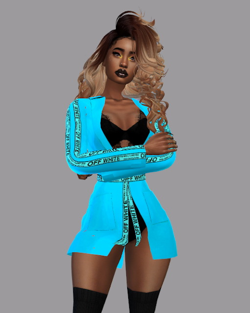 Sims 4 Lace Bodysuit and Satin Jacket Recolor at Teenageeaglerunner