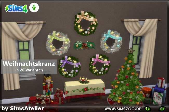 Sims 4 Christmas wreath by SimsAtelier at Blacky's Sims Zoo