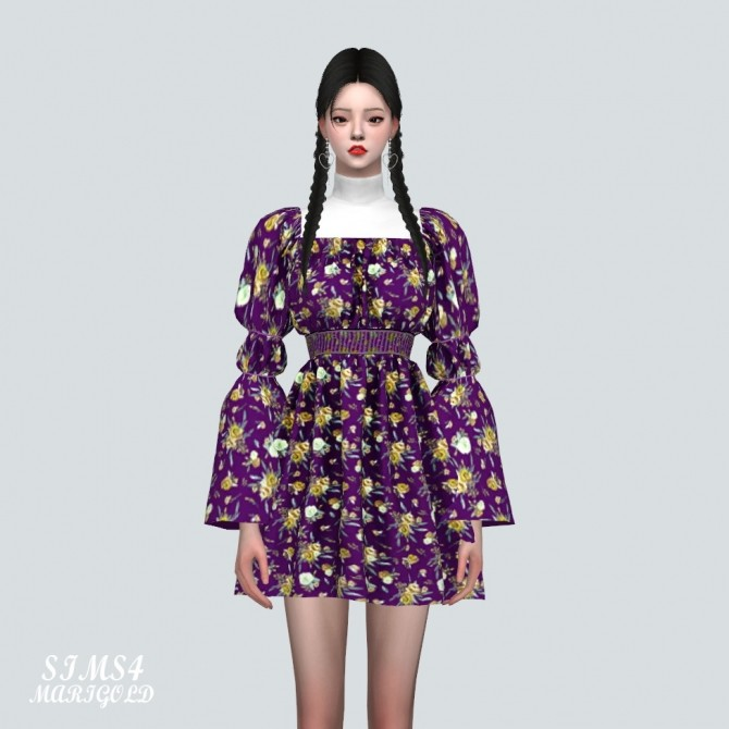 Sims 4 Love Puff Sleeves Mini Dress With Turtle Neck at Marigold